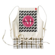 Pink Monogram Black and Gray Chevron Pattern Zazzle HEART Apron