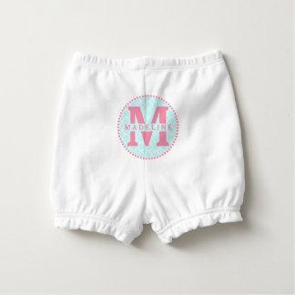Pink Monogram + Blue Quatrefoil Diaper Cover