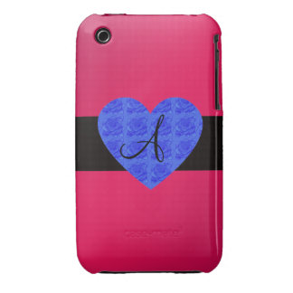 Pink monogram blue roses iPhone 3 case