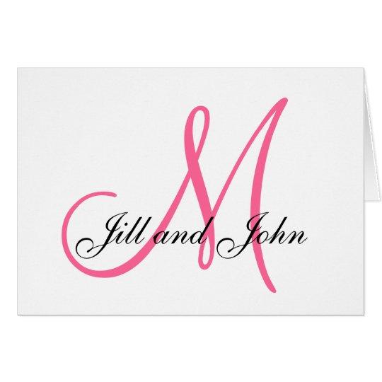 Pink Monogram Bride Groom Names Wedding Card