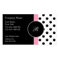 Pink Monogram Business Cards
