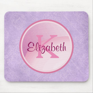 Pink Monogram Circle on Pale Lavender Purple Mouse Pad