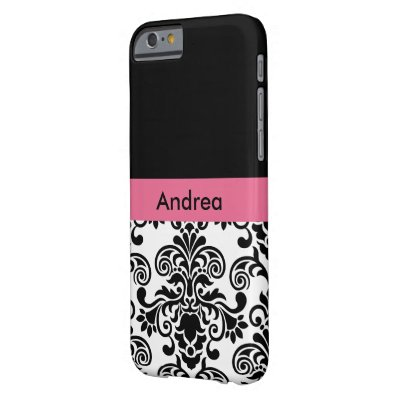 Pink Monogram Damask Barely There iPhone 6 Case