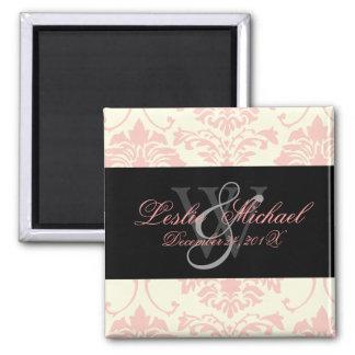 Pink Monogram Damask Wedding, Magnets