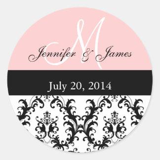 Pink Monogram Damask Wedding Stickers