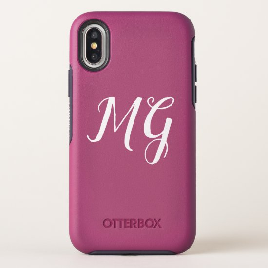 Pink Monogram Design OtterBox Symmetry iPhone X Case