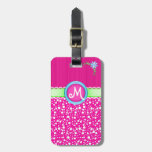 Pink Monogram, Dots and Flower Luggage Tag
