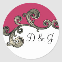pink monogram envelope seal