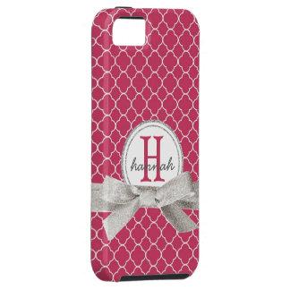 Pink Monogram  Faux Glitter Quatrefoil iPhone SE/5/5s Case