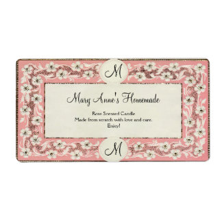 Pink Monogram Floral Custom Label