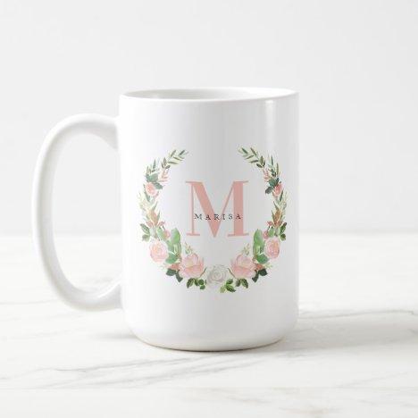 Pink Monogram Floral Wreath Coffee Mug