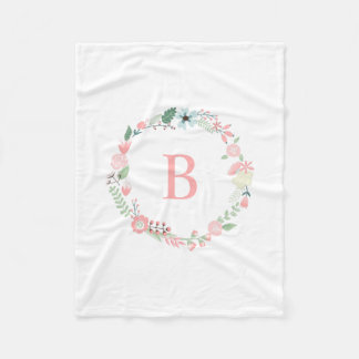 Pink Monogram Floral Wreath Fleece Blanket