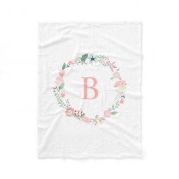 heartlocked Pink Monogram Floral Wreath Fleece Blanket
