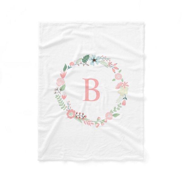 Pink Monogram Floral Wreath Fleece Blanket