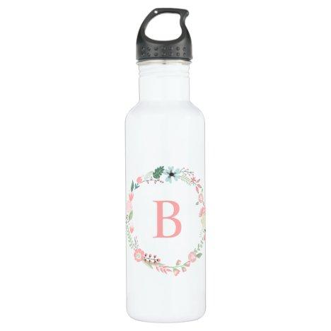 Pink Monogram Floral Wreath Water Bottle