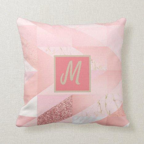 Pink Monogram Geometric Abstract Glitter Throw Pillow