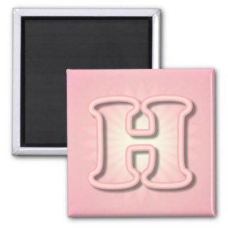 Pink Monogram H 2 Inch Square Magnet