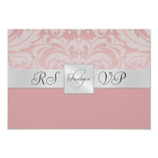 "Pink Monogram Half Damask RSVP Reply Invitation 3.5"" X 5"" Invitation Card"