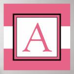 Pink Monogram Initial Girl's Room Decor Print