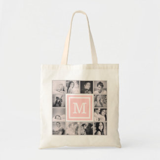 Pink Monogram Instagram Photo Collage Tote Bags
