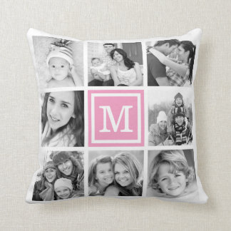 Pink Monogram Instagram Photo Collage Throw Pillow