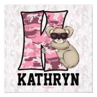 "Pink Monogram ""K"" Kid's Birthday Party Invitation"