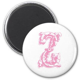 Pink Monogram Letter Z 2 Inch Round Magnet