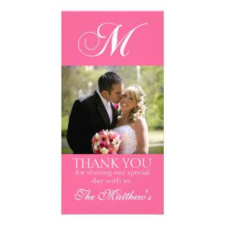 Pink Monogram M Wedding Thank You Photo Card