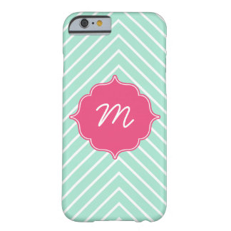 Pink Monogram Mint Thin Chevron Quatrefoil Barely There iPhone 6 Case