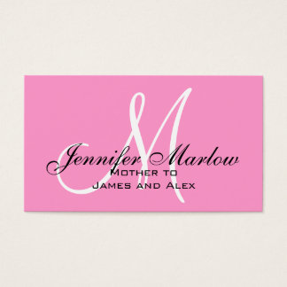 Pink Monogram Mommy Calling Card