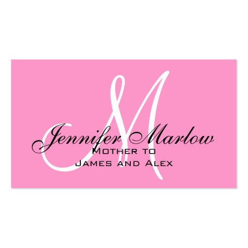 Pink Monogram Mommy Calling Card Double Sided Standard
