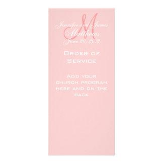 Pink Monogram Names Date Wedding Program