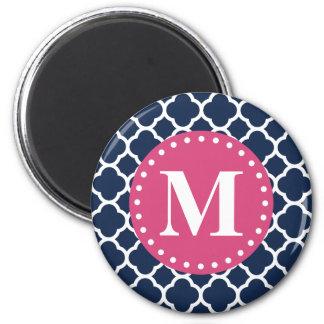 Pink Monogram Navy Quatrefoil Pattern Magnet