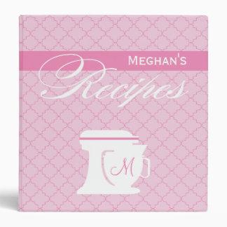 Pink Monogram Recipe Book Vinyl Binders