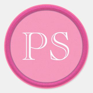 Pink Monogram Classic Round Sticker
