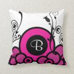Pink Monogram Throw Pillow