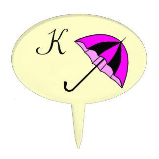 Pink, Monogram,umbrella, Custom Oval Cakepick