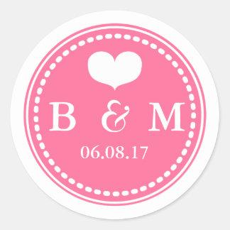 Pink Monogram Wedding Envelop Seal Sticker