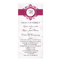 pink monogram Wedding program