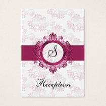 pink monogram wedding Reception Cards