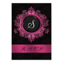 pink monogram wedding RSVP standard 3.5 x 5 Card