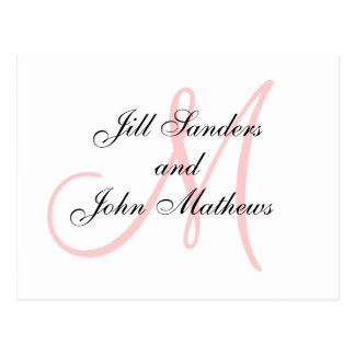 Pink Monogram Wedding Save the Date Cards Postcard