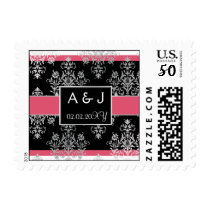 pink monogram wedding stamps