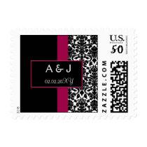 pink monogram wedding stamps