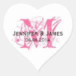 Pink Monogram Wedding Stickers Heart Shape