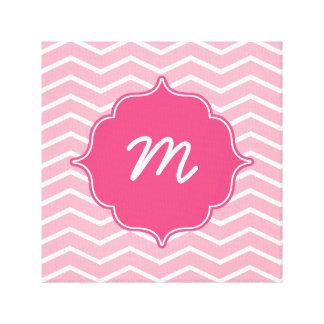 Pink Monogram Wide Chevron Quatrefoil Canvas Print