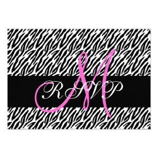 Pink Monogram Zebra Print Wedding RSVP Card Announcement