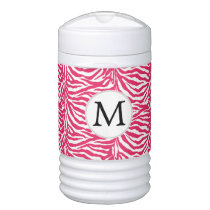 Pink Monogram Zebra Stripes Beverage Cooler