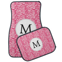 Pink Monogram Zebra Stripes Car Mat