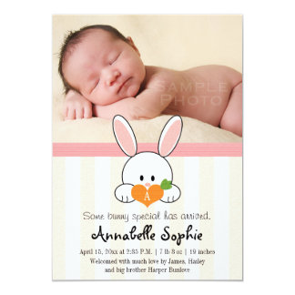 PINK MONOGRAMMED BUNNY RABBIT BIRTH ANNOUNCEMENT